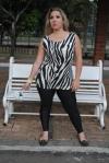 Calça Legging  com minivest zebra visco lycra