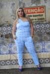 Macacão azulejo português em visco lycra.